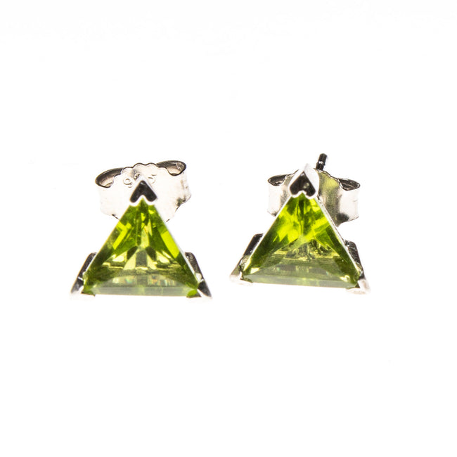 SS Created Peridot Triangle Stud Earrings