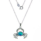 Sterling Silver Created Opal Crab Necklace