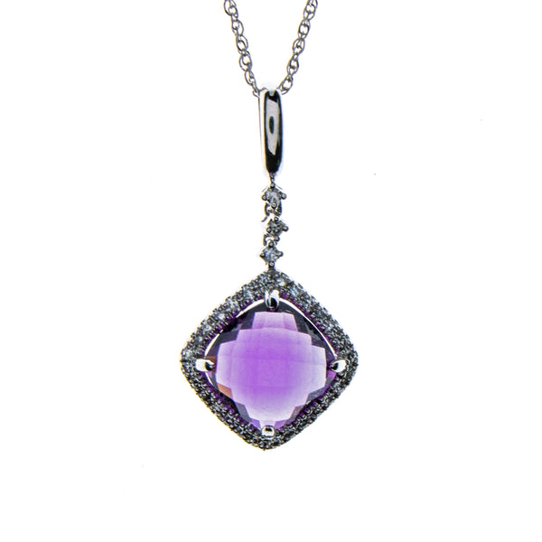 14K White Gold Amethyst Square Necklace