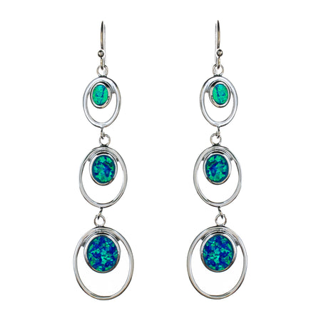Sterling Silver and 14K Boulder Opal Floral Earrings