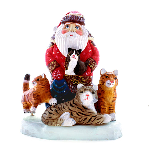 Carved Santa with Kittens