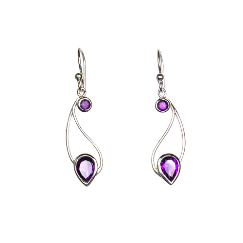 SS Round/Pear Amethyst Paisley Earrings