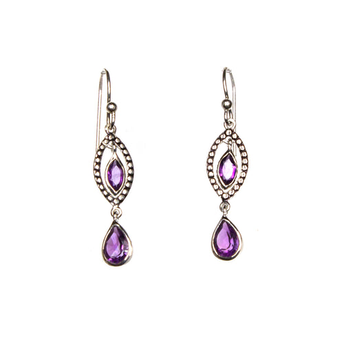 SS Amethyst Spotted Marquis Dangle Earrings
