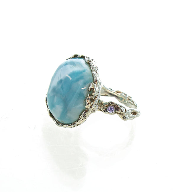 SS Round Larimar Ring with Tanzanite & Textured Setting (Size 7)