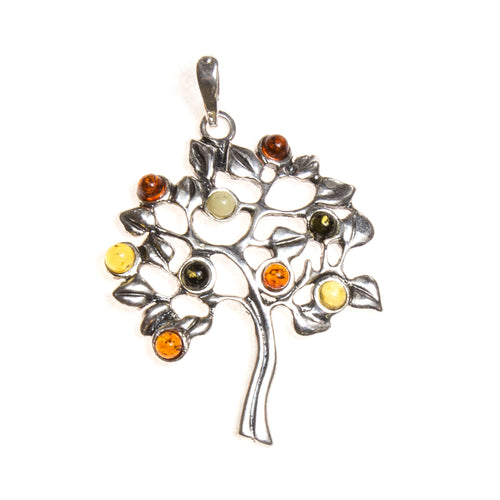 SS Amber Fruiting Tree of Life Pendant