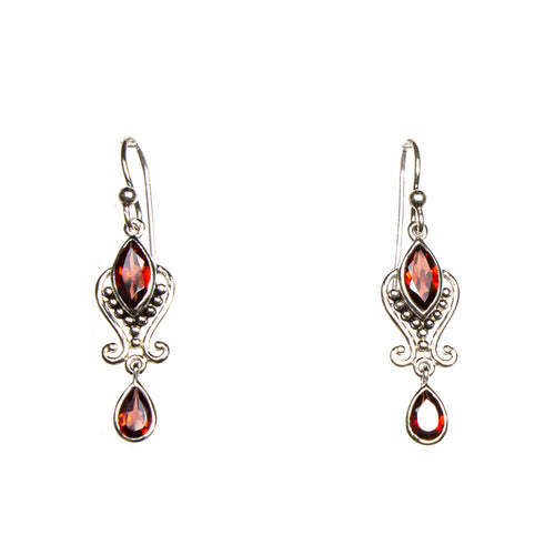 SS 2 Garnet Marquis & Pear Scroll Earrings