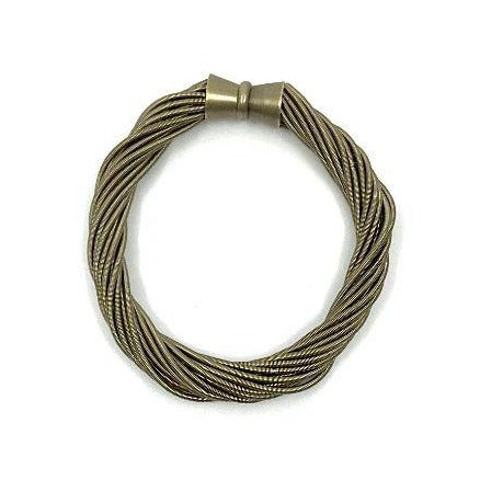 Bronze Recycled Piano Wire Twist Bracelet with Magnetic Clasp