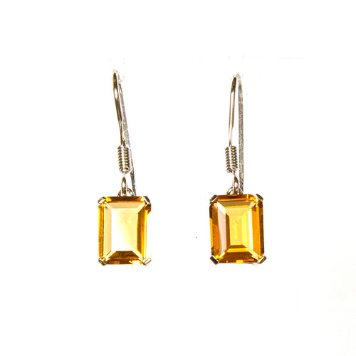 SS Created Citrine Rectangle Earrings