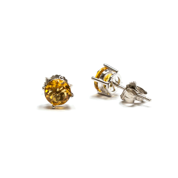 SS 6mm Round Created Citrine Studs