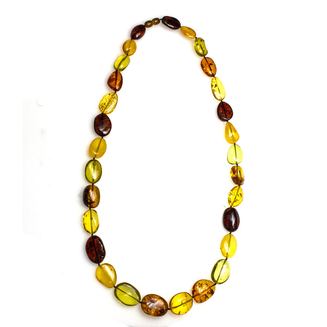 SS Multi-colored Amber Bead Necklace