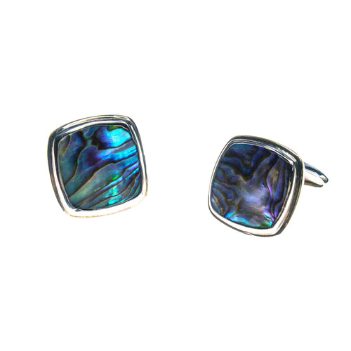 Sterling Silver Abalone Square Cuff Links