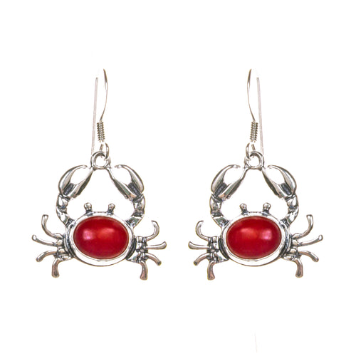Sterling Silver Coral Crab Earrings
