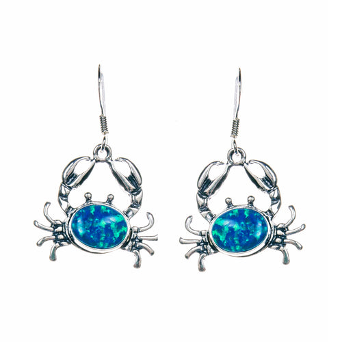 Sterling Silver Blue Opal Crab Earrings