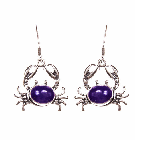Sterling Silver Lapis Crab Earrings