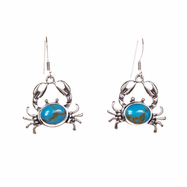 Sterling Silver Turquoise Crab Earrings