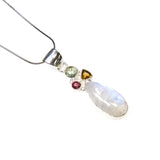 SS Rainbow Moonstone & Tourmaline Trio Pendant/Necklace