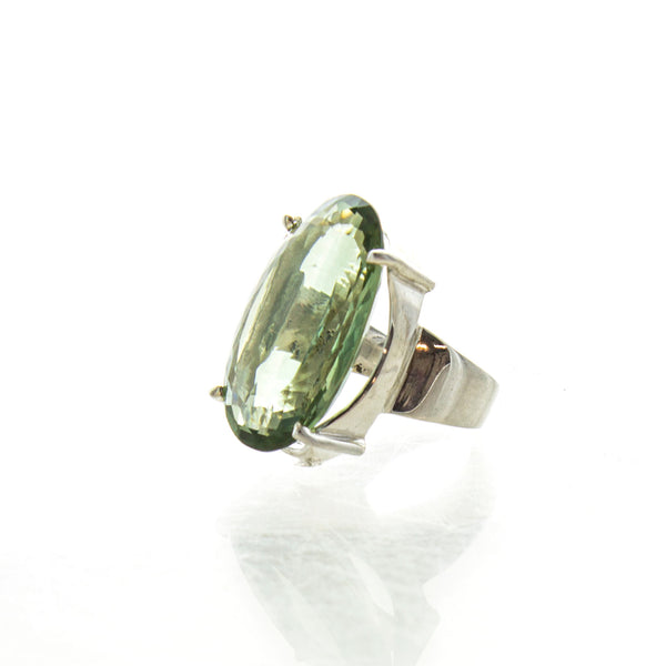 SS Large Pronged Green Amethyst Ring (Size 6.5)