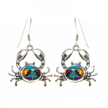 Sterling Silver Created Opal Crab Dangle Earrings