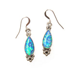 SS Created Opal Pear Bead Cluster Earrings