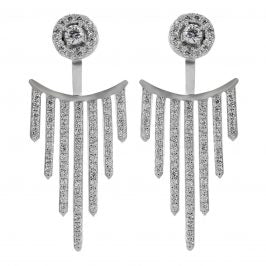 Sterling Silver Cubic Zirconia 7-Bar Drop Post Earrings