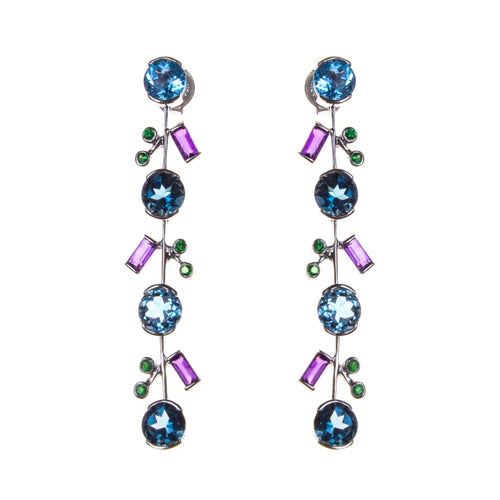 14K Amethyst Blue Topaz Vine Earrings