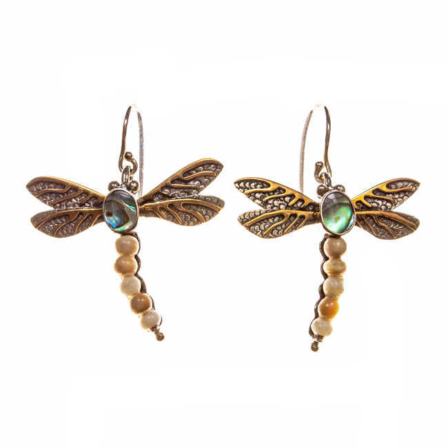 Sterling Silver Vermeil Abalone and Fossilized Walrus Ivory Dragonfly Earrings