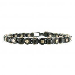 Stainless Steel Black Screw Link Men's Bracelet