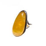 SS Butterscotch Amber Bezel Adjustable Ring
