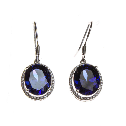 SS Created Tanzanite CZ Oval Earrings