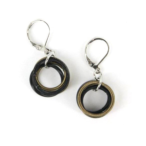 Recycled Piano Wire Loop Earrings in Black & Bronze