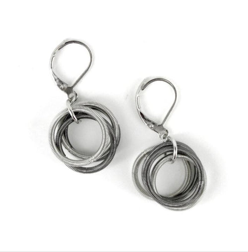 Recycled Piano Wire Loop Earrings in Silver & Slate