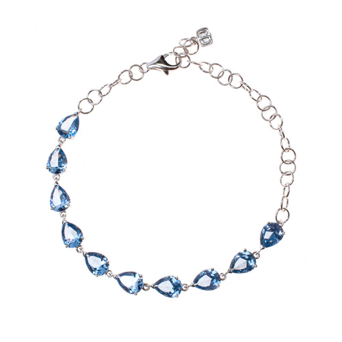 Sterling Silver Created Aquamarine Pear Link Bracelet