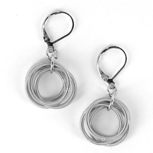 Recycled Piano Wire Loop Earrings in Silver