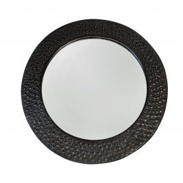 Wood Mirror Black Dotted Aluminum Round from Ghana