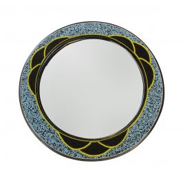 Wood Mirror Blue Beaded Round from Ghana