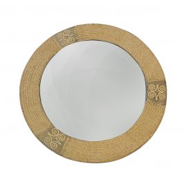 Wood Mirror Yellow Antique Round by Adin Rams from Ghana