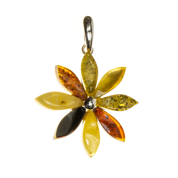 SS Multicolored Amber Flower Pendant
