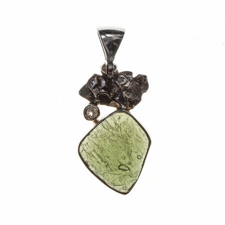 Sterling Silver Moldavite Nugget Toggle Bracelet
