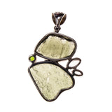 Sterling Silver Moldavite Nuggets with Topaz Crystals Pendant