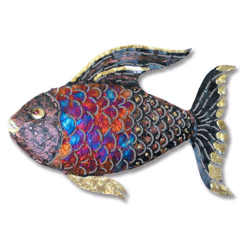 Copper Dripped Fish Wall Art