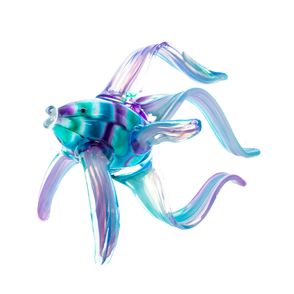 Art Glass Angelfish Aqua Green Purple