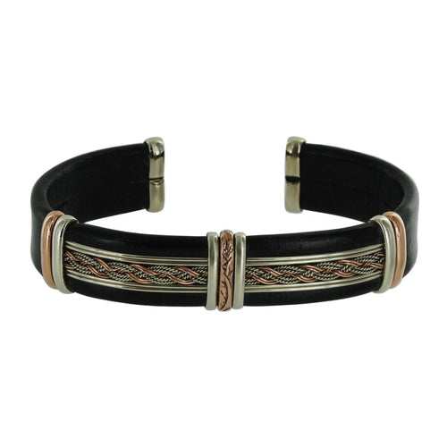 Men's Bracelet Copper Brass Leather