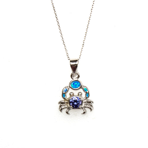SS Created Opal and Tanzanite Crab Necklace