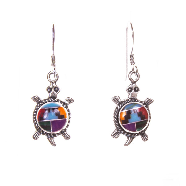 Sterling Silver Round Inlay Turtle Earrings