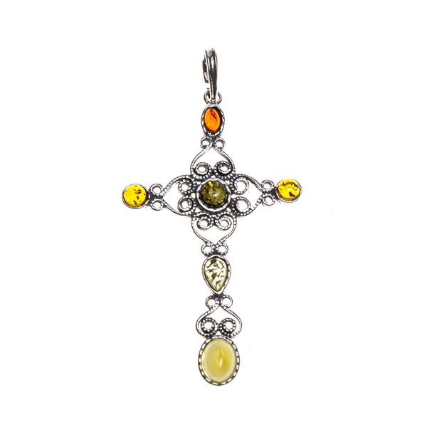 SS Multicolored Amber Filigree Cross Pendant
