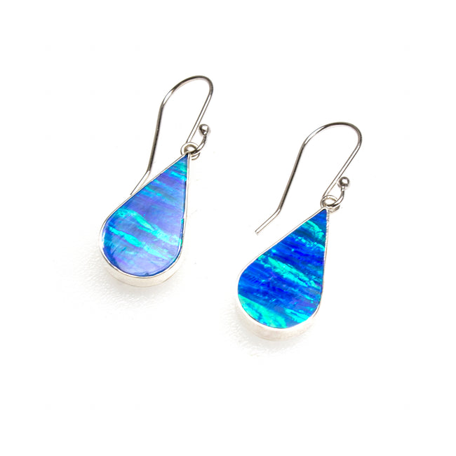 SS Created Opal Pear Earrings