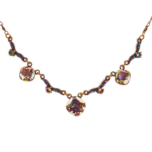 Brass Swarovski Crystal Jeweled Necklace