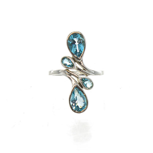 SS 4 Pear Blue Topaz Bypass Ring (Size 7)