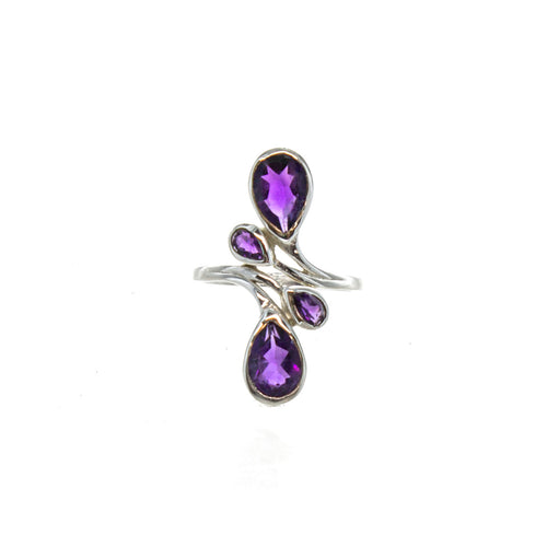 SS 4 Pear Amethyst Bypass Ring