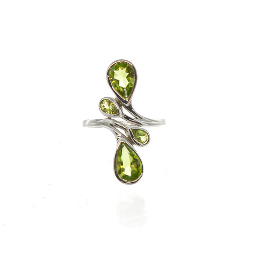 SS 4 Peridot Pear Bypass Ring